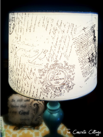 French Script Lampshade TheConcreteCottage